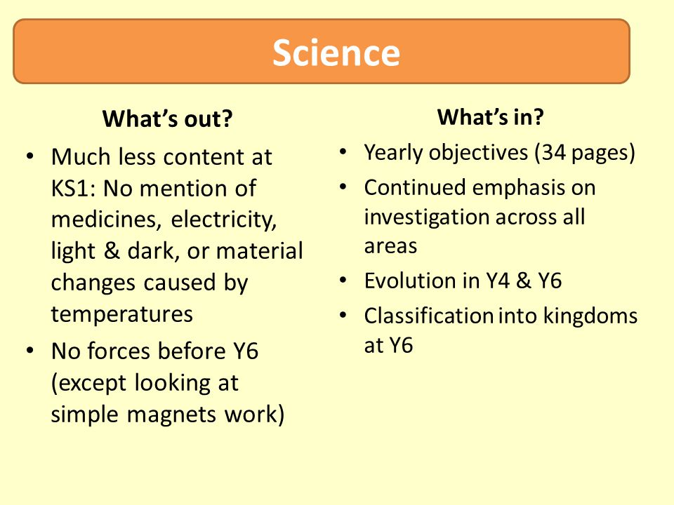 Science What's out? Much less content at KS1: No mention of medicines, electricity, light & dark, or material changes caused by temperatures No forces