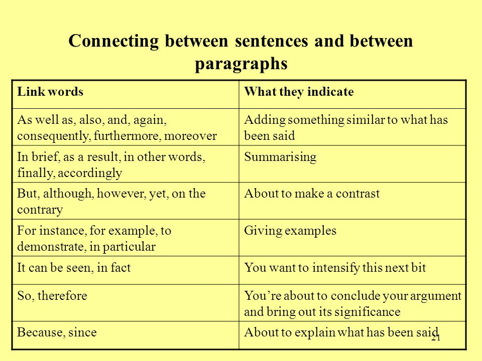 21 Connecting between sentences and between paragraphs Link wordsWhat they indicate As well as, also, and, again, consequently, furthermore, moreover Adding something similar to what has been said In brief, as a result, in other words, finally, accordingly Summarising But, although, however, yet, on the contrary About to make a contrast For instance, for example, to demonstrate, in particular Giving examples It can be seen, in factYou want to intensify this next bit So, thereforeYou're about to conclude your argument and bring out its significance Because, sinceAbout to explain what has been said