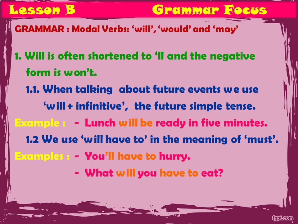 Lesson BGrammar Focus GRAMMAR : Modal Verbs: 'will', 'would' and 'may' 1.