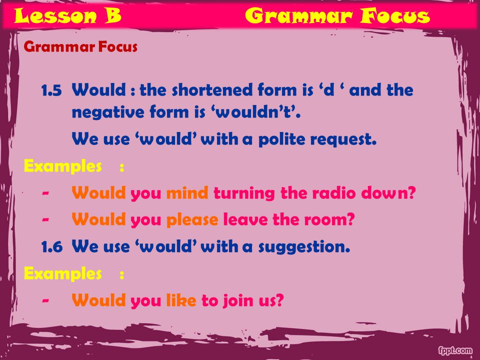 Lesson BGrammar Focus Grammar Focus 1.5Would : the shortened form is 'd ' and the negative form is 'wouldn't'.