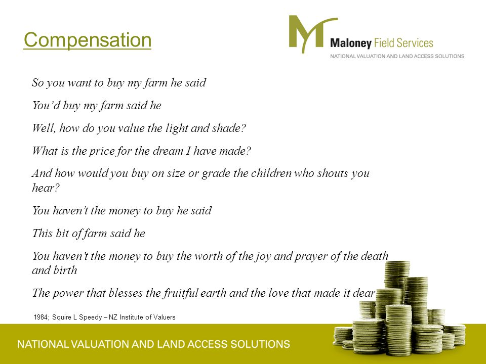 Compensation So you want to buy my farm he said You'd buy my farm said he Well, how do you value the light and shade.