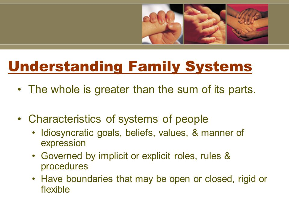Understanding Family Systems The whole is greater than the sum of its parts.