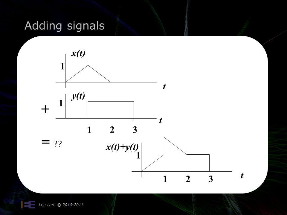 Adding signals Leo Lam © 2010-2011 1 1 123 t t + = ?? x(t) y(t) 1 t 123 x(t)+y(t)