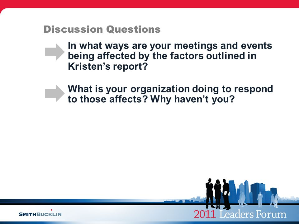 Discussion Questions In what ways are your meetings and events being affected by the factors outlined in Kristen's report.