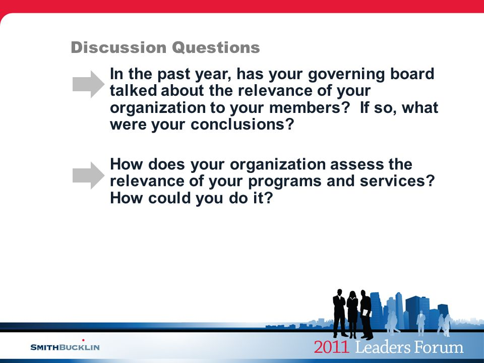 Discussion Questions In the past year, has your governing board talked about the relevance of your organization to your members.