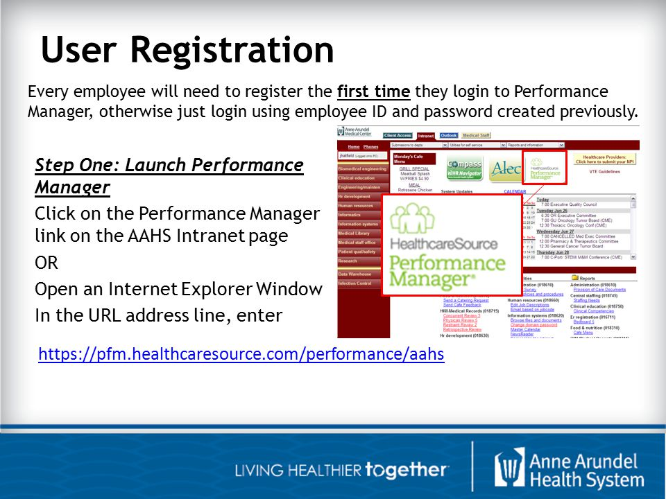 User Registration Step Two: Register or Login if already registered 1.Click the Register link 2.Enter your First Name 3.Enter your Last Name 4.Enter your Employee Id (no leading zeros) 5.Click the Next button 6.In the Username Field you will see your Employee ID Number, this is your Username (you will not modify anything on this screen) 7.Click the Next button