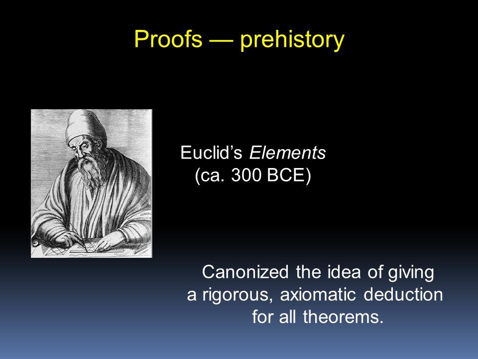Proofs — prehistory Euclid's Elements (ca.