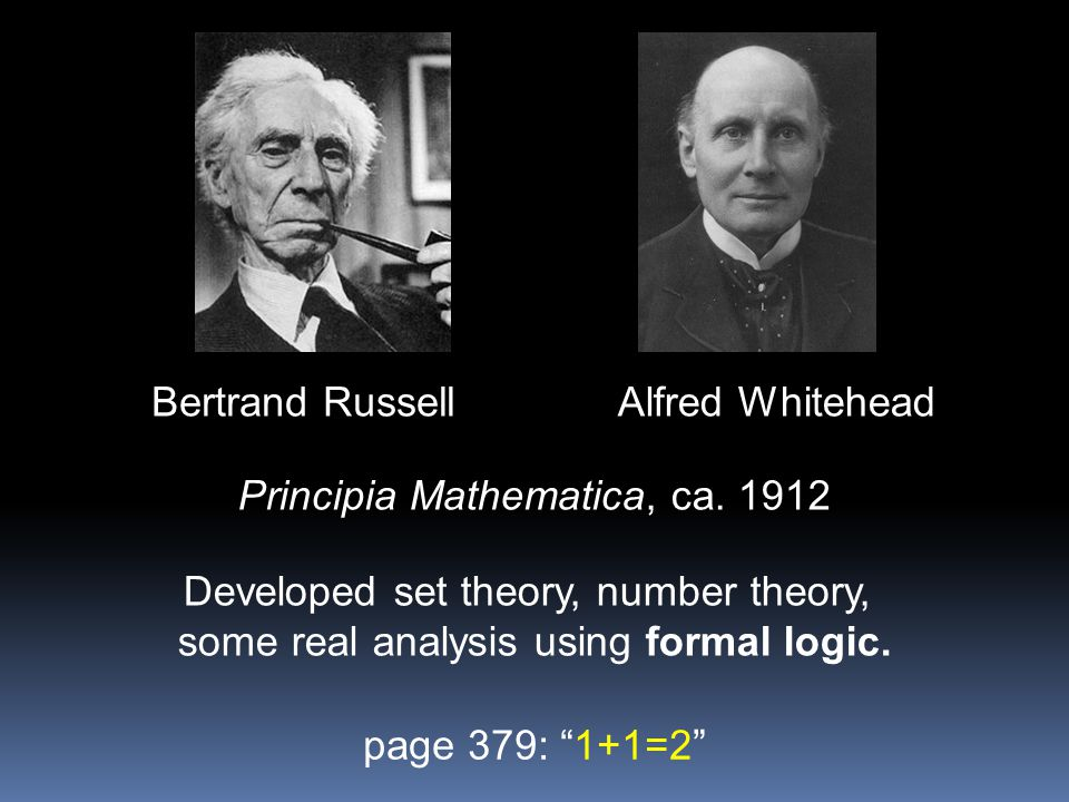 Bertrand RussellAlfred Whitehead Principia Mathematica, ca. 1912 Developed set theory, number theory, some real analysis using formal logic. page 379:
