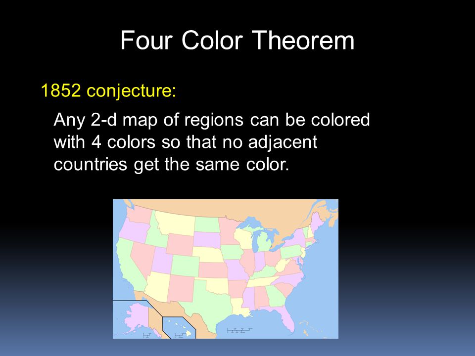 Four Color Theorem Any 2-d map of regions can be colored with 4 colors so that no adjacent countries get the same color. 1852 conjecture: