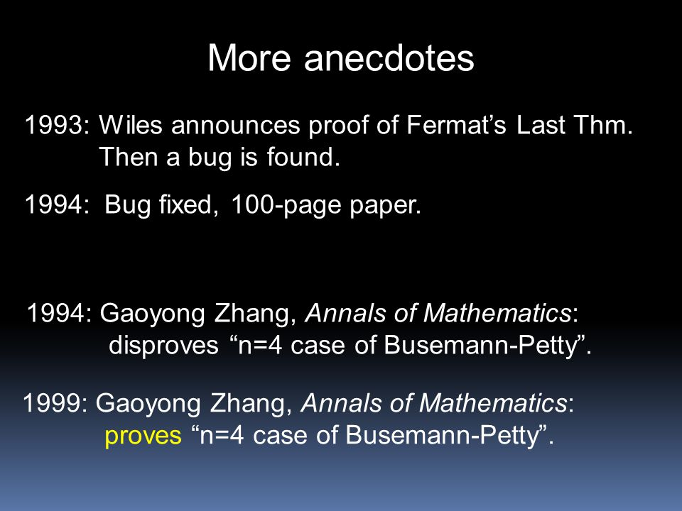 More anecdotes 1993: Wiles announces proof of Fermat's Last Thm. Then a bug is found. 1994: Bug fixed, 100-page paper. 1994: Gaoyong Zhang, Annals of
