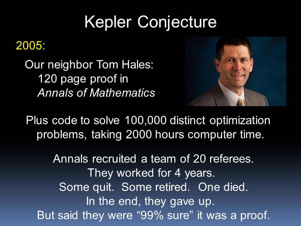 Kepler Conjecture 2005: Our neighbor Tom Hales: 120 page proof in Annals of Mathematics Plus code to solve 100,000 distinct optimization problems, tak