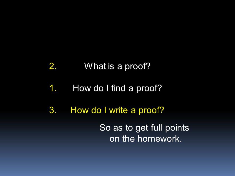 What is a proof. How do I find a proof. How do I write a proof.
