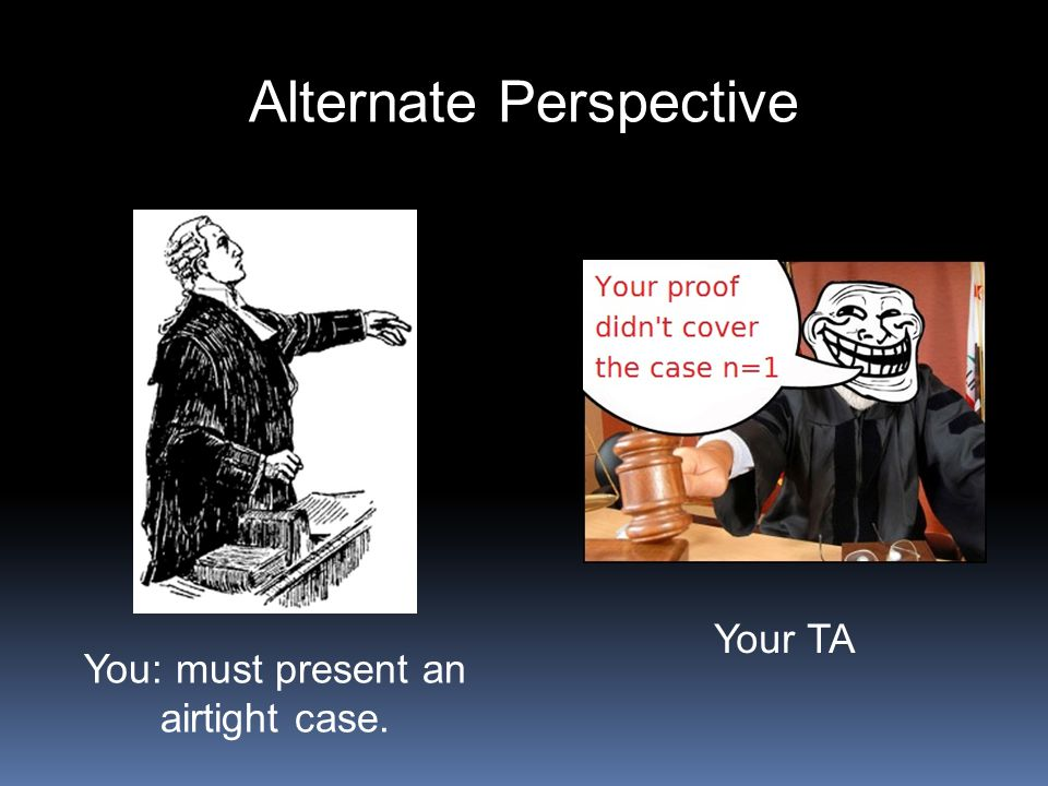 Alternate Perspective You: must present an airtight case. Your TA
