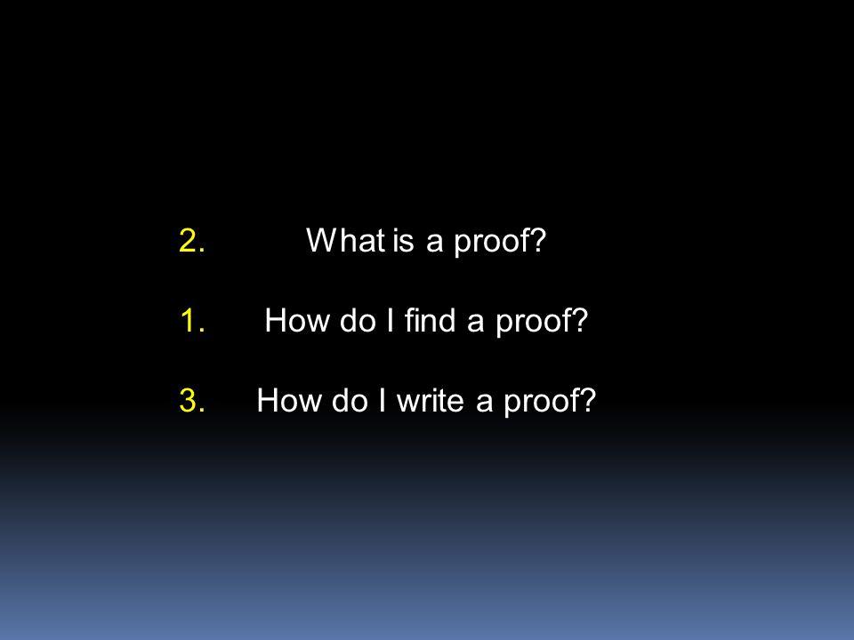 What is a proof.How do I find a proof. How do I write a proof.