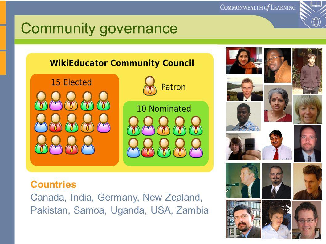 Community governance Canada, India, Germany, New Zealand, Pakistan, Samoa, Uganda, USA, Zambia Countries