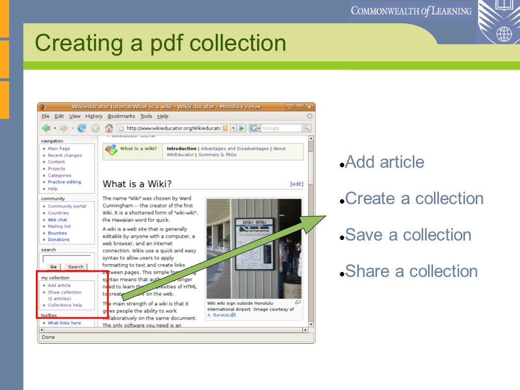 Creating a pdf collection Add article Create a collection Save a collection Share a collection