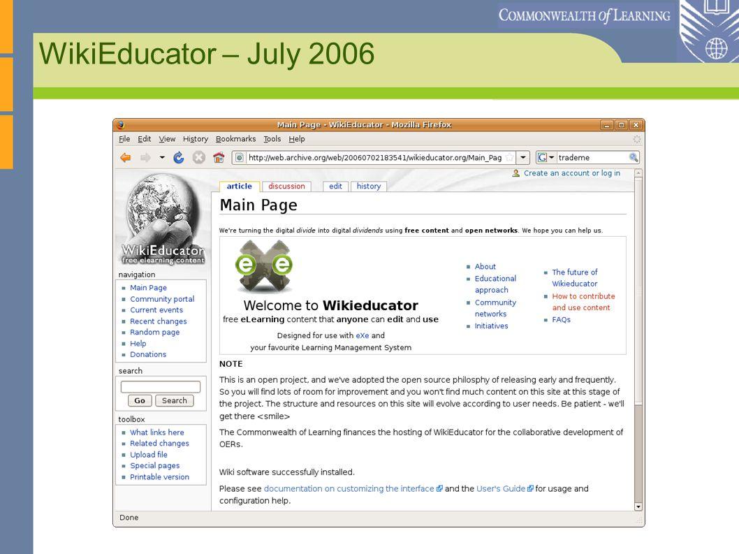 WikiEducator – July 2006