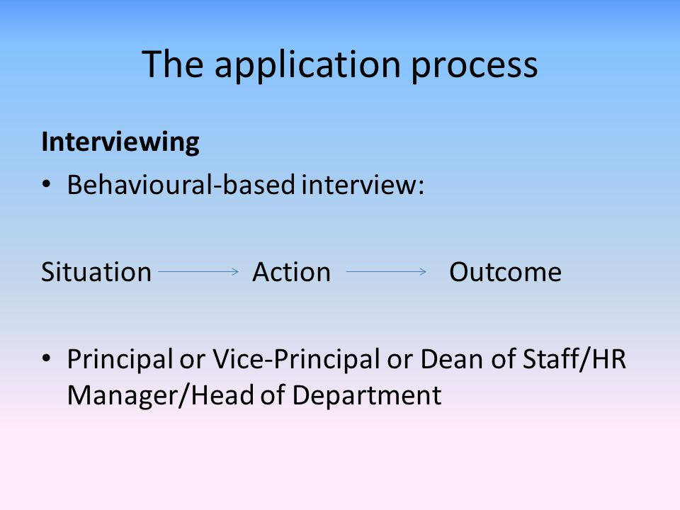The application process Interviewing Behavioural-based interview: Situation ActionOutcome Principal or Vice-Principal or Dean of Staff/HR Manager/Head of Department