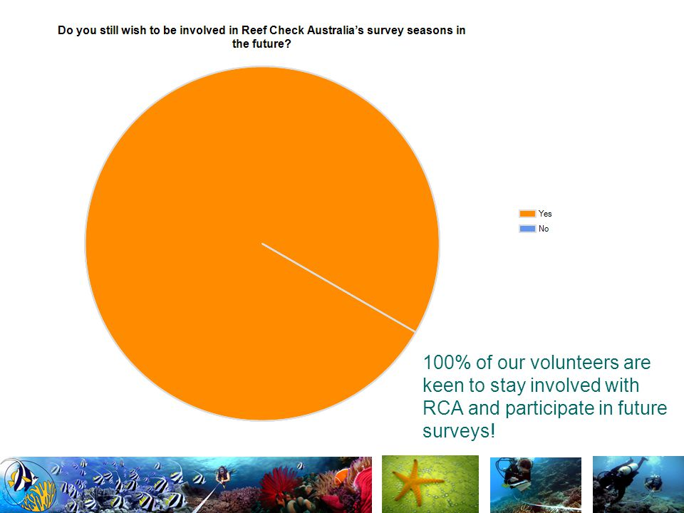 100% of our volunteers are keen to stay involved with RCA and participate in future surveys!