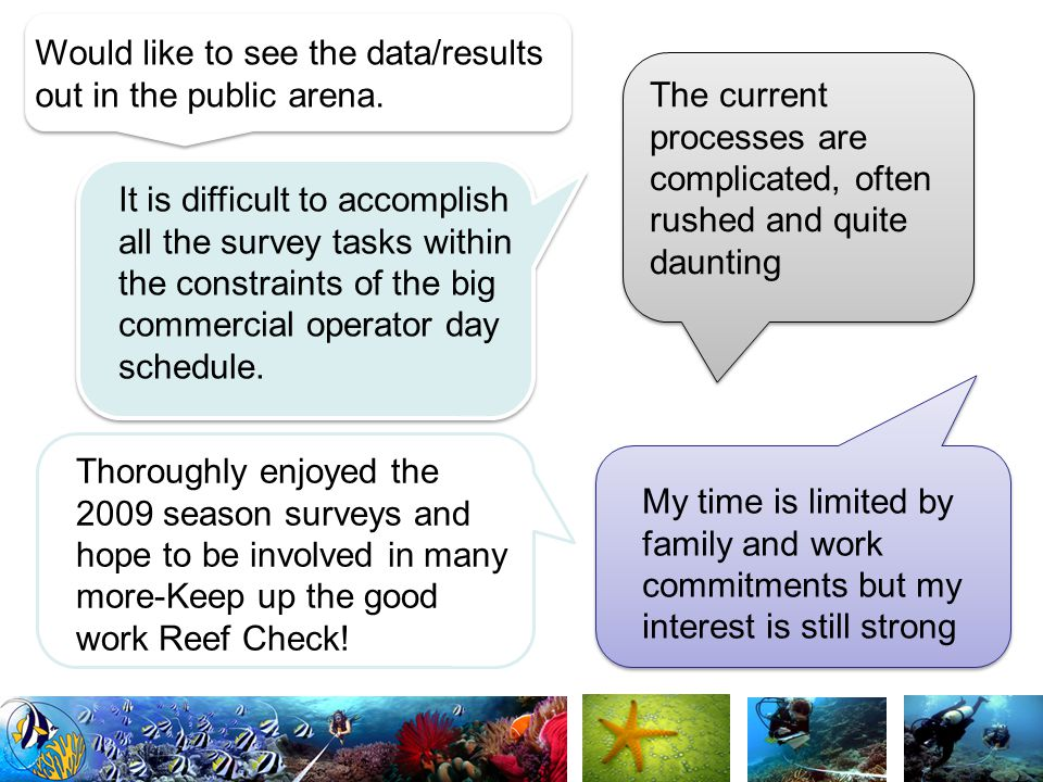 Need more feedback on the usefulness of the data I collect… to determine whether the effort is worthwhile.