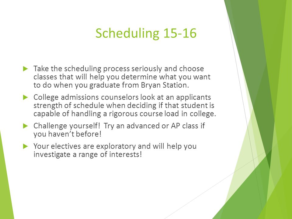 Scheduling starts today. Scheduling starts today.
