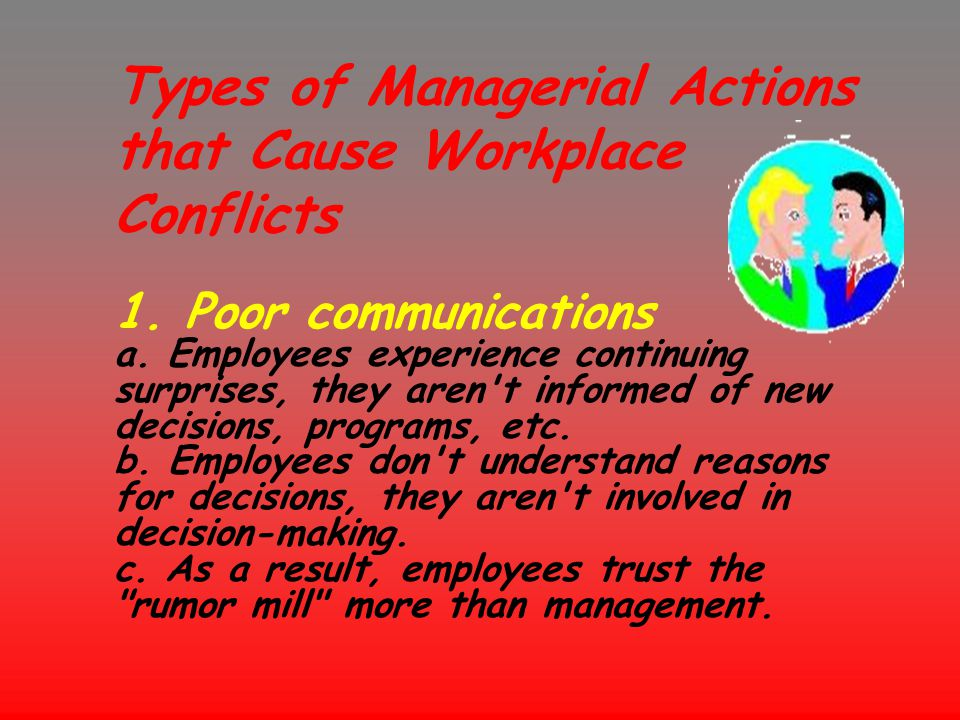 Types of Managerial Actions that Cause Workplace Conflicts 1. Poor communications a. Employees experience continuing surprises, they aren't informed o