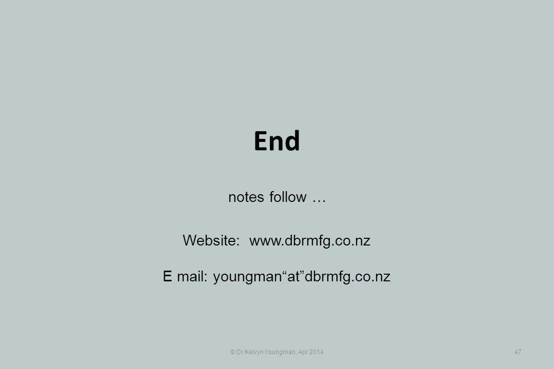 "© Dr Kelvyn Youngman, Apr 201447 Website: www.dbrmfg.co.nz E mail: youngman""at""dbrmfg.co.nz notes follow … End"