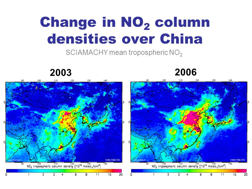 Change in NO 2 column densities over China 2003 SCIAMACHY mean tropospheric NO 2 2006