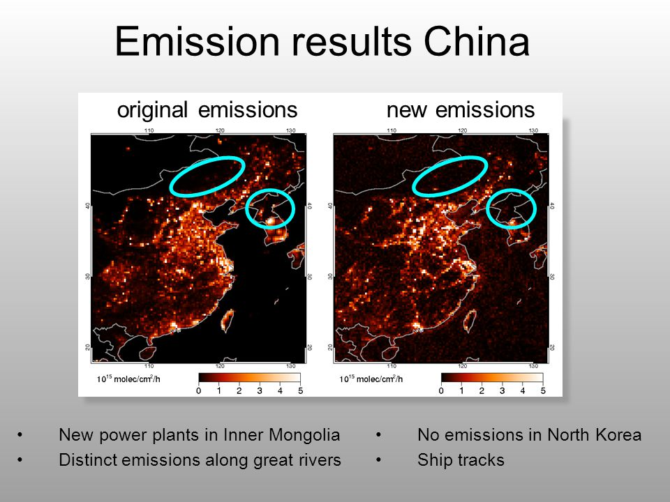 Emission results China New power plants in Inner Mongolia Distinct emissions along great rivers original emissions new emissions No emissions in North