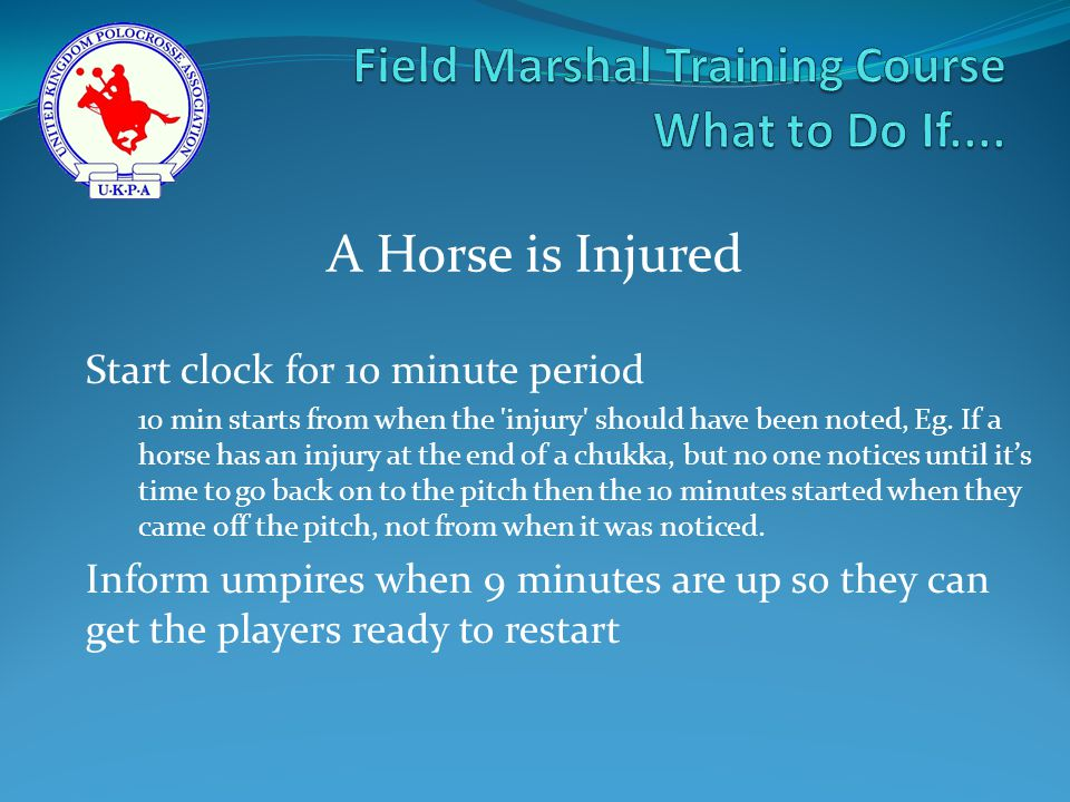 Start clock for 10 minute period 10 min starts from when the injury should have been noted, Eg.