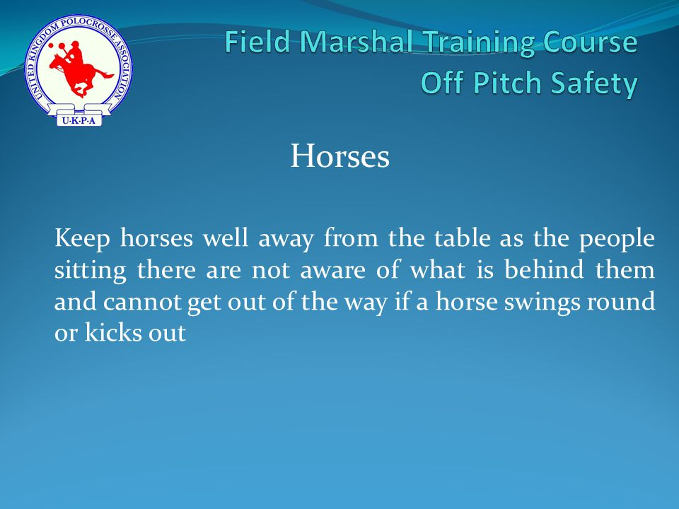 Keep horses well away from the table as the people sitting there are not aware of what is behind them and cannot get out of the way if a horse swings round or kicks out Horses