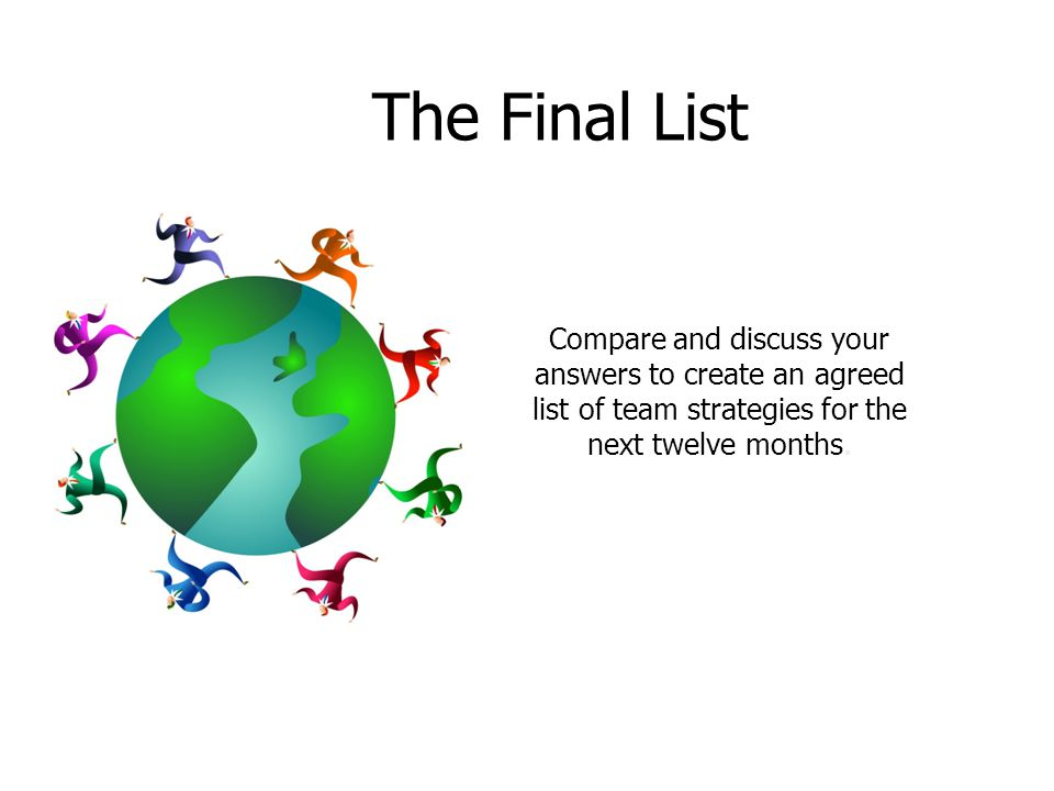 The Final List Compare and discuss your answers to create an agreed list of team strategies for the next twelve months.