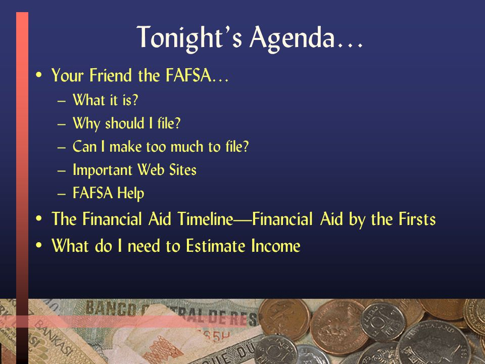Financial Aid: An Overview… Presented by Dave Marsteller Assistant Director, Financial Aid The University of Akron