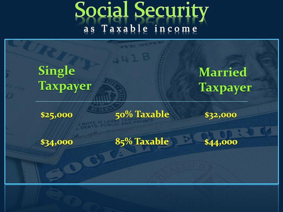 Single Taxpayer Married Taxpayer $25,000 50% Taxable $32,000 $34,000 85% Taxable $44,000 $25,000$32,000 50% Taxable $34,000$44,000 85% Taxable