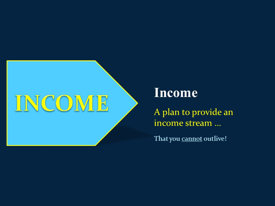 Income A plan to provide an income stream … That you cannot outlive!