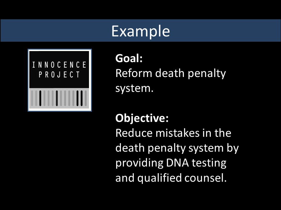 Goal: Reform death penalty system.