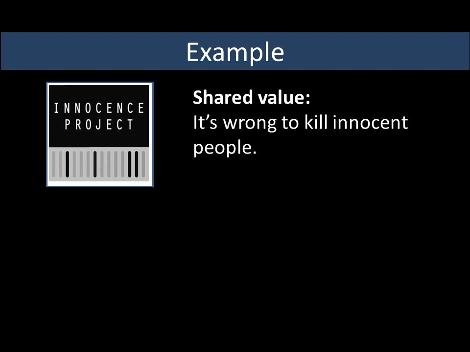 Shared value: It's wrong to kill innocent people. Example