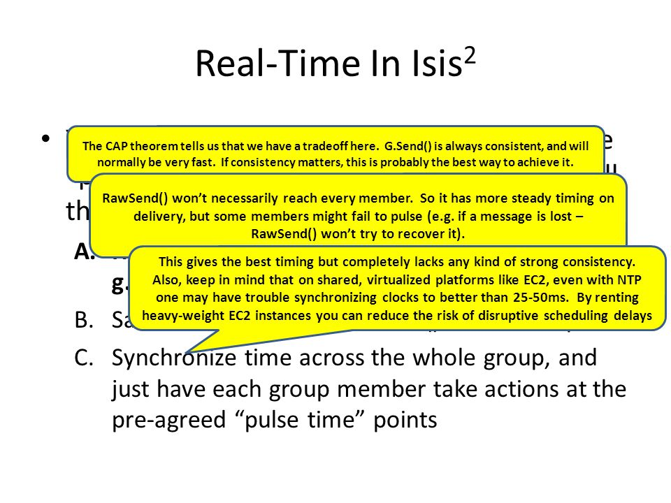 """Real-Time In Isis 2 Your gaming system needs a kind of real-time """"pulse"""" that will trigger periodic actions by all the members. But you want consisten"""