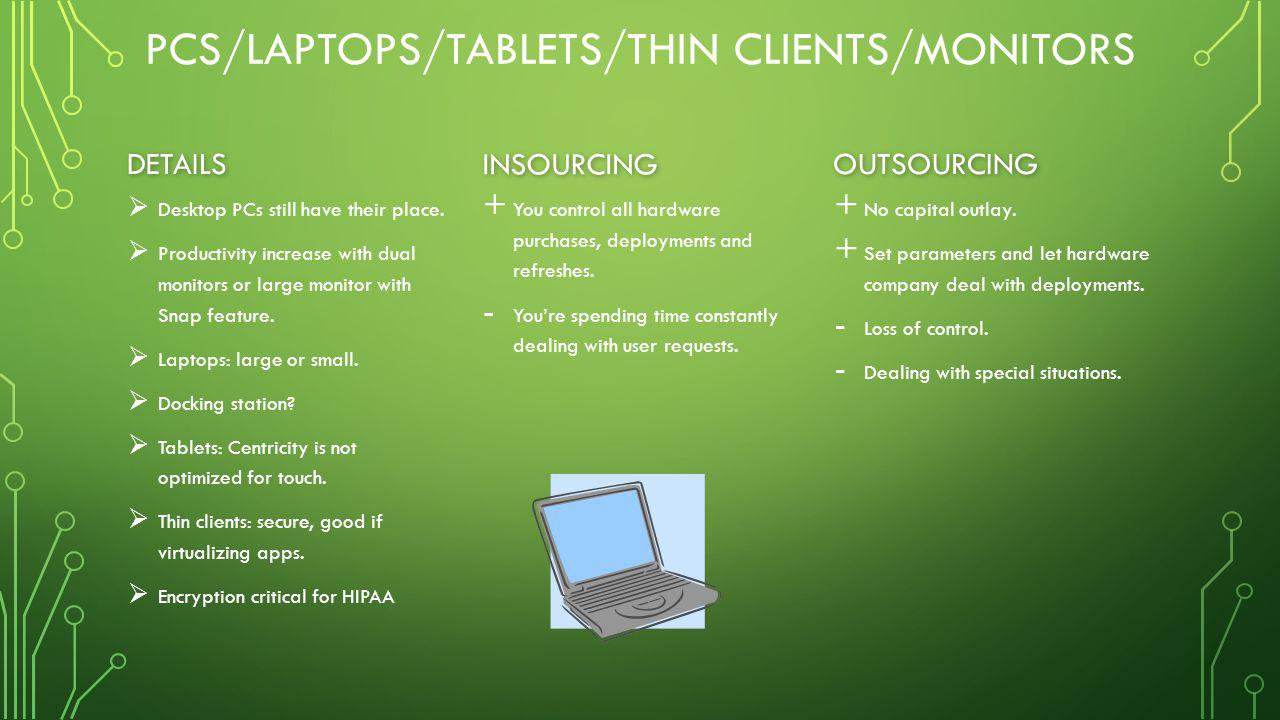 PCS/LAPTOPS/TABLETS/THIN CLIENTS/MONITORS DETAILS   Desktop PCs still have their place.   Productivity increase with dual monitors or large monito