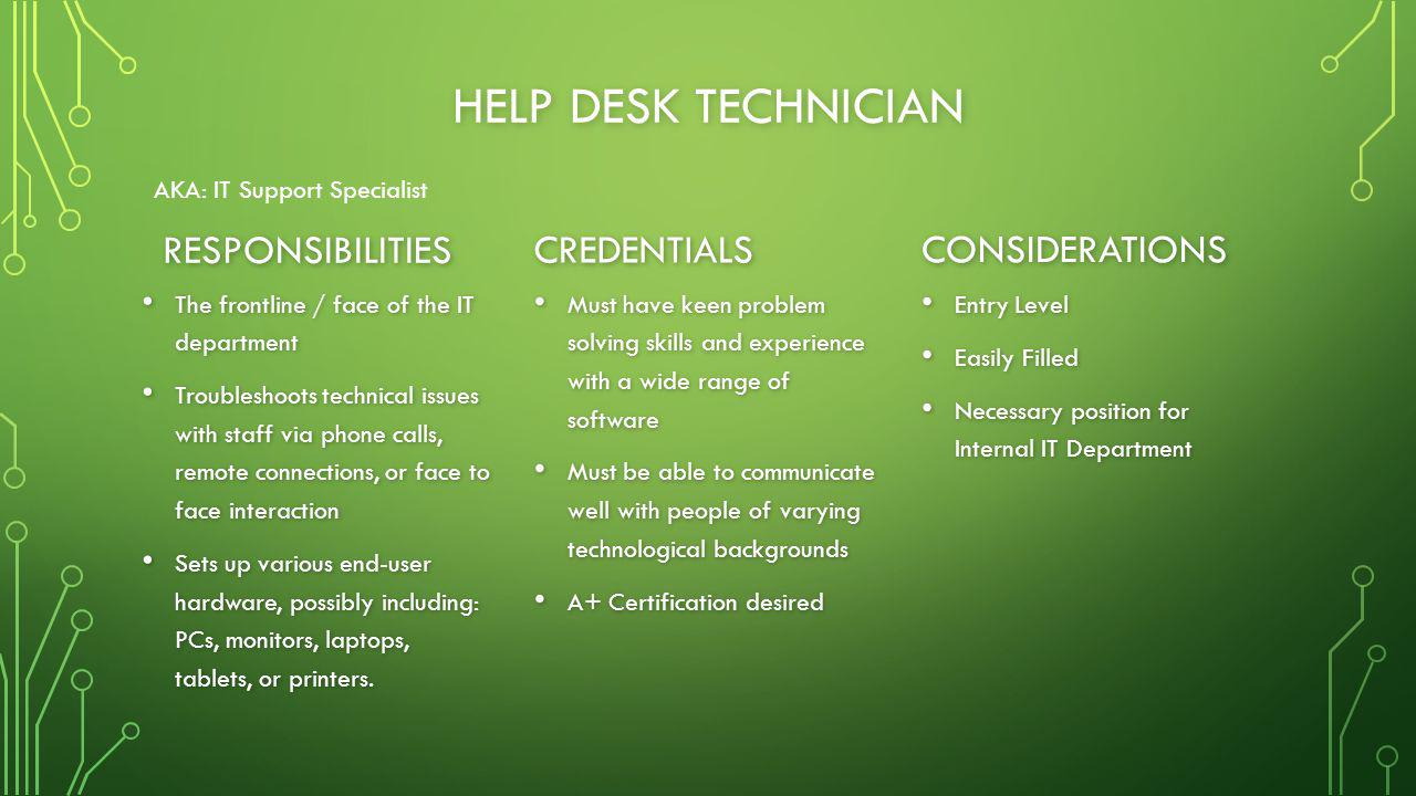 HELP DESK TECHNICIAN RESPONSIBILITIES The frontline / face of the IT department The frontline / face of the IT department Troubleshoots technical issues with staff via phone calls, remote connections, or face to face interaction Troubleshoots technical issues with staff via phone calls, remote connections, or face to face interaction Sets up various end-user hardware, possibly including: PCs, monitors, laptops, tablets, or printers.