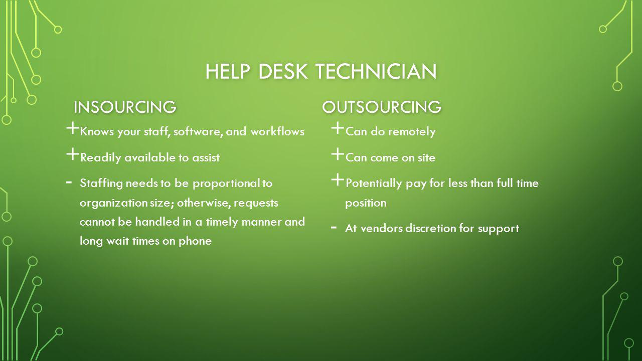 HELP DESK TECHNICIAN + + Knows your staff, software, and workflows + + Readily available to assist - - Staffing needs to be proportional to organization size; otherwise, requests cannot be handled in a timely manner and long wait times on phone + Can do remotely + Can come on site + Potentially pay for less than full time position - At vendors discretion for support INSOURCINGOUTSOURCING