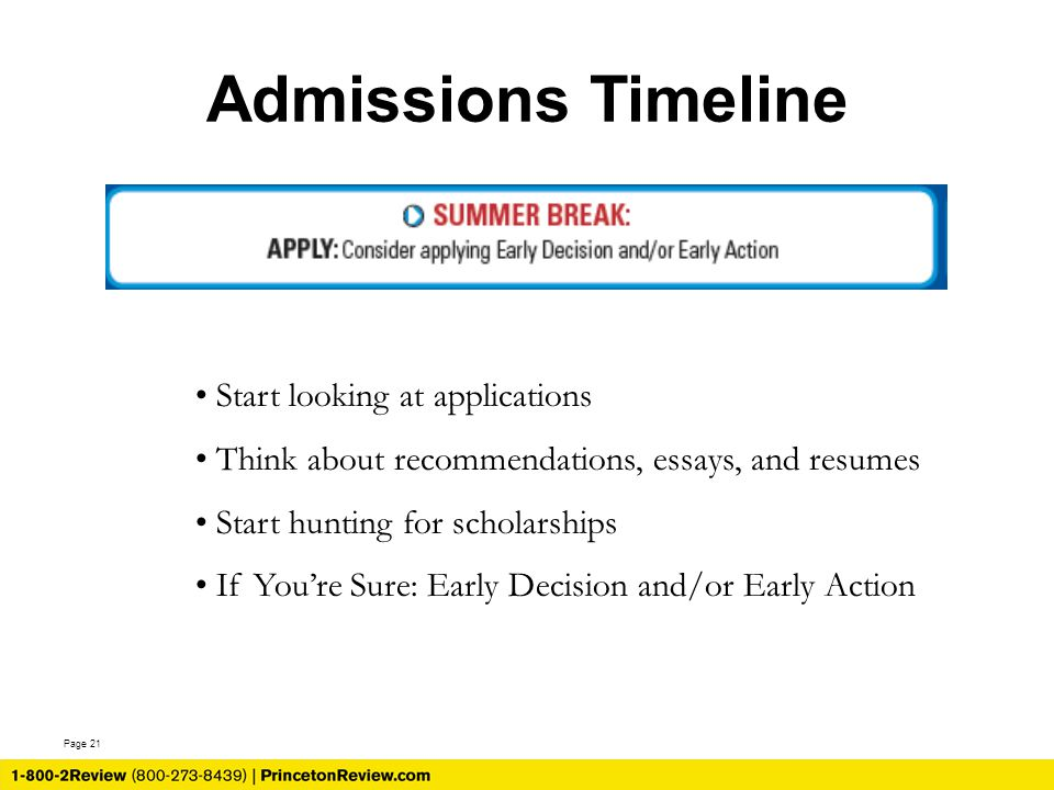 Page 21 Admissions Timeline Start looking at applications Think about recommendations, essays, and resumes Start hunting for scholarships If You're Sure: Early Decision and/or Early Action