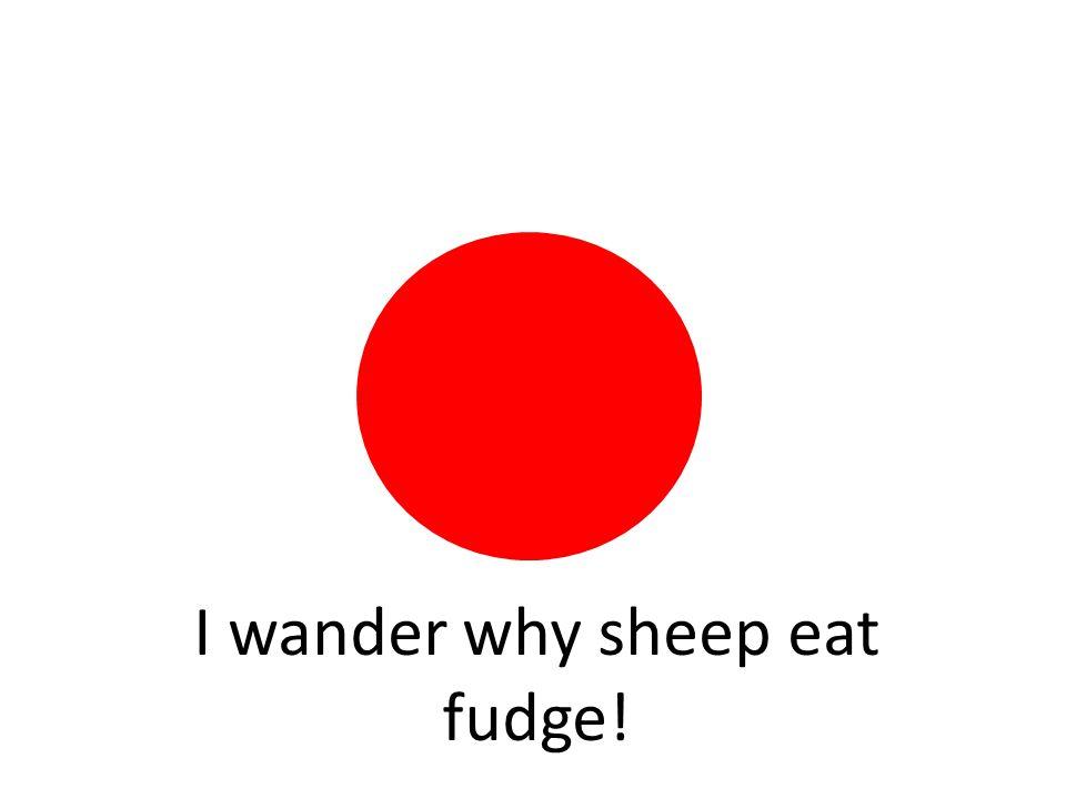 I wander why sheep eat fudge!