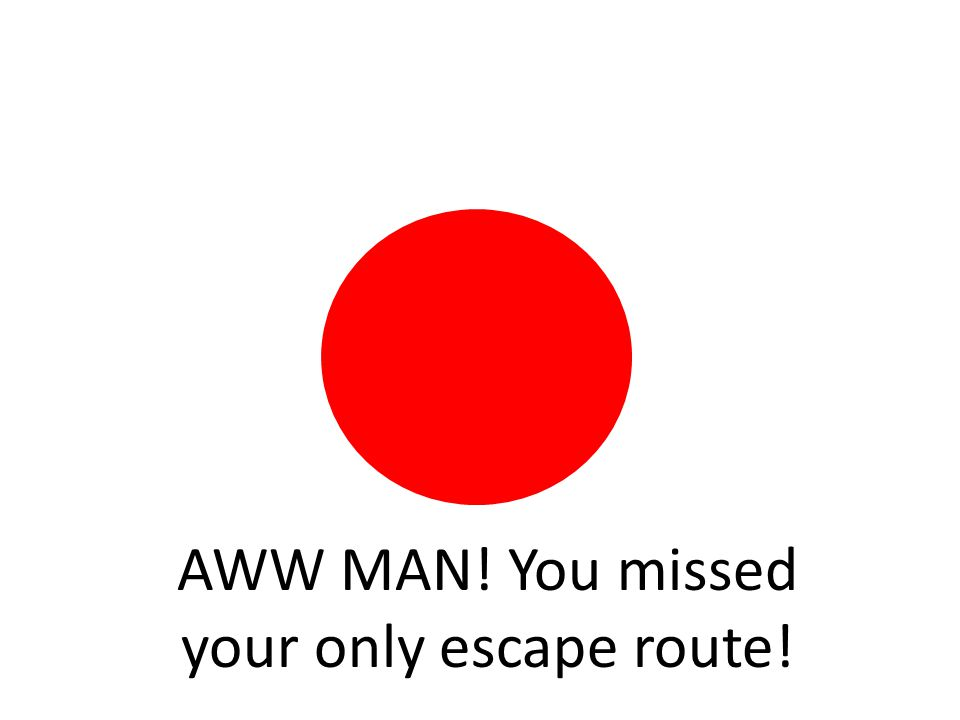 AWW MAN! You missed your only escape route!