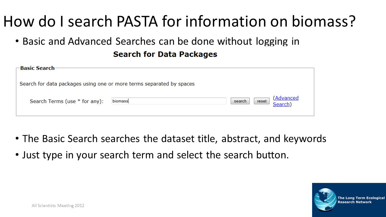 How do I search PASTA for information on biomass.