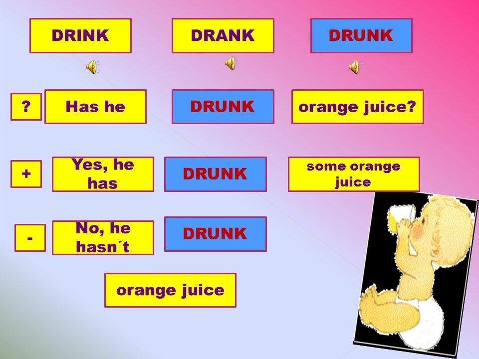 DRINKDRUNKDRANK Has heorange juice?DRUNK .