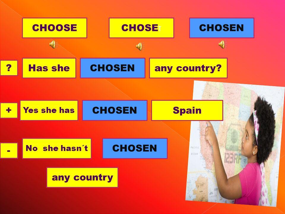 CHOOSECHOSE T CHOSEN Has sheany country CHOSEN .