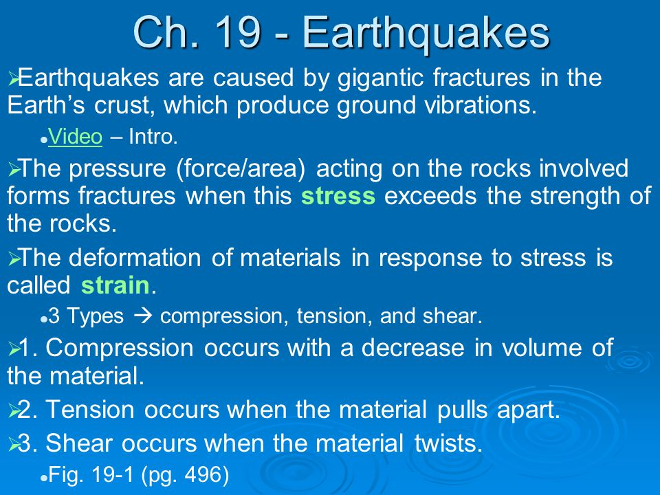 Ch. 19 - Earthquakes   Earthquakes are caused by gigantic fractures in the Earth's crust, which produce ground vibrations. Video – Intro. Video  