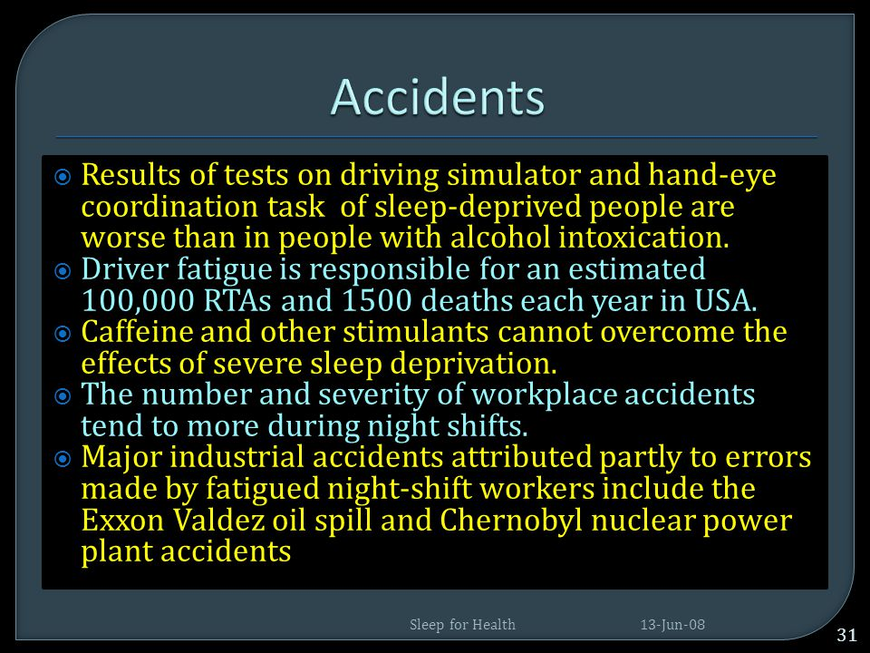  Accidents- industrial and road traffic.  Heart Problems and obesity  Problems for Diabetics  Brain mal function  Shortning life span and defecti