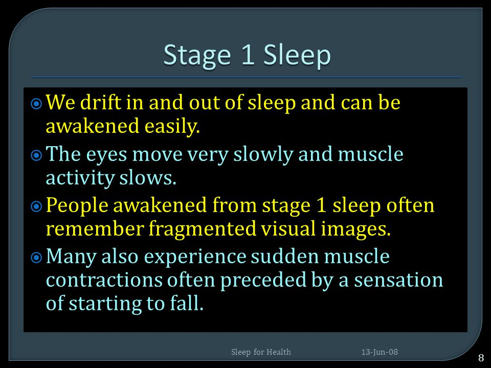  Sleep is divided into five stages on the basis of EEG and other features  They are REM (rapid eye movement) and NREM – stages 1, 2, 3, 4, sleep. 